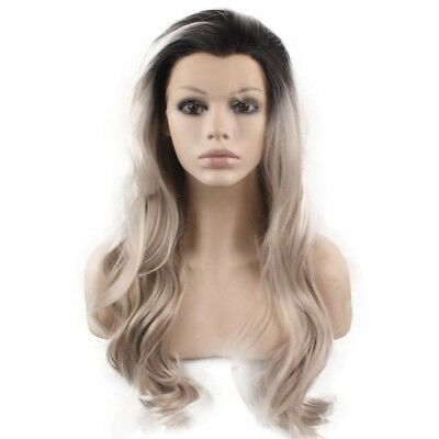 Long Wavy Black Gray Blonde Two Tone Lace Front Ombre Wig