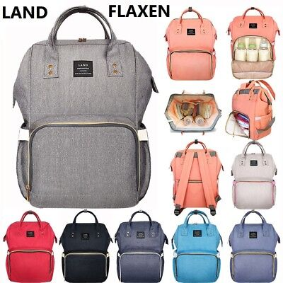 LAND Large Baby Diaper Backpack Mommy Changing Bag Mummy Nappy- Flaxen