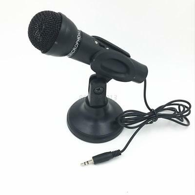 AU 3.5mm Studio Stereo Microphone MIC With Stand Mount For PC Computer Laptop