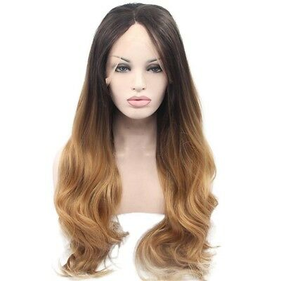 Long Wavy Ombre Blonde Hand Tied Lace Front Synthetic Wig