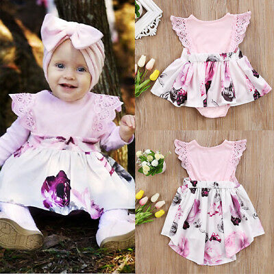 Floral Lace Toddler Kids Girl Newborn Baby Sisters Dress Romper/Sundress Clothes