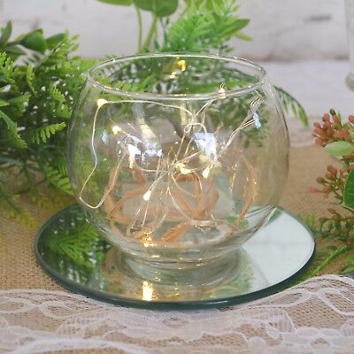 Glass Sphere Bowl x 4 with 4 Led Seed Lights 1m 10 seeds Wedding Table Lighting