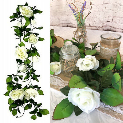White Rose Garland 160cm Artificial Flowers Wedding Decorations Vintage