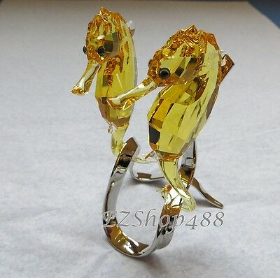 Swarovski Crystal Figurine #5103233 Pair of Golden Seahorses RARE New in Box