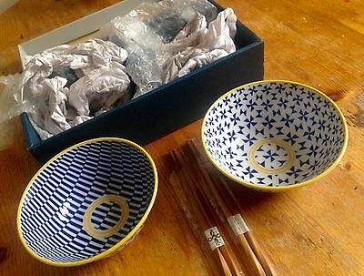 New Boxed Contemporary Tokyo Design Studio Anese Bowls And Chopstick Set