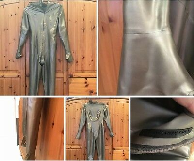 latexcrazy catsuit latex anzug silber s
