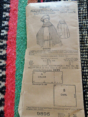 Vintage 1907 Patented Pictorial Review Pattern Cape + Warren's Ad. No Reserve