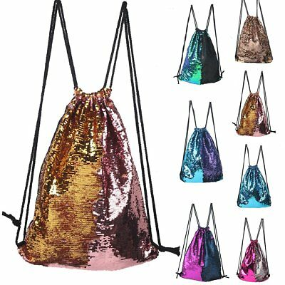Women Girls Sequin Mermaid Sports Drawstring Backpack Student Strap Bag Rucksack
