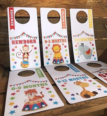 bright circus BABY WARDROBE DIVIDERS Newborn - 1 Year SHOWER gifts organise