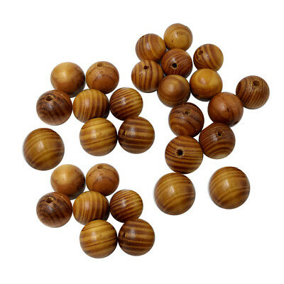 50x Wooden Spacer Beads Natural Stripe Round Jewelry Making DIY Craft 20mm