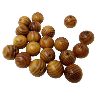 25x Wooden Spacer Beads Natural Stripe Round Jewelry Making DIY Craft 25mm
