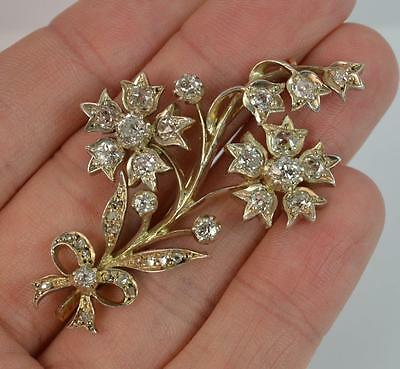Beautiful 2.50ct Old Cut Diamond 18ct Gold Floral Spray Brooch c1900 d1715