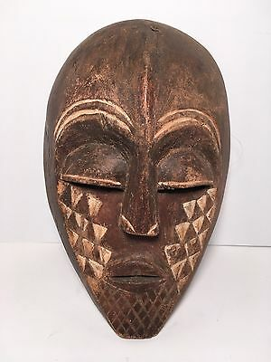 """Vintage Hand Carved Crafted Wood Mask African Tribal Home Wall Decor 12"""""""