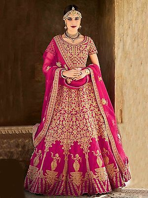 Bollywood Ethnic Designer Wedding Wear Indian Silk Lehenga Choli Saree Sari New