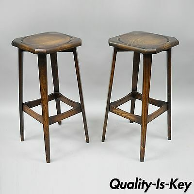 "Pair of Ferguson Antique Mission Oak Wood Barstools Arts & Crafts 30"" Bar Stools"