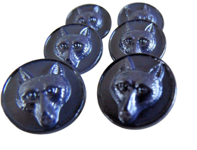6 x Fox Face Round Buttons Hunting Jackets Bags 15mm Choose Black Brown Or Navy