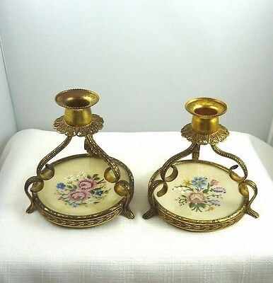 Two Vintage Petite Point gold plated Candle Holders