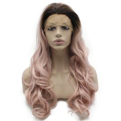 Long Wavy Dark Root Heat Resistantr Fiber Ombre Pink Lace Front Wig