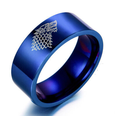 Game of Thrones Ice Wolf House Stark of Winterfell Stainless Steel Blue Ring