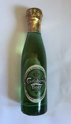 Carlsberg BEER  Miniature 3 inch Green Glass Bottle - made in Argentina