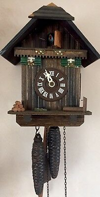 "German  2 Weight Driven Movement Carved Wood Case Cuckoo Clock GWO 8"" L 6.5""W"