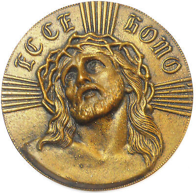 Jesus Christ ECCE HOMO cast bronze wall plaque 142mm (about 5 1/2 inches)