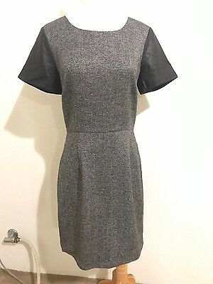 womens wool grey dress with leather sleeves, by barneys new york size 10