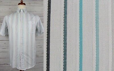 Vtg S-Sleeve Striped Button Down Sport Shirt by Landin Paris -M- DA06