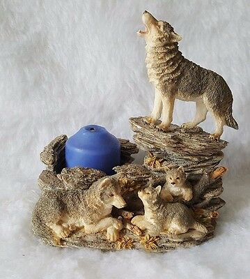 "Westland Giftware #951 5.75"" Wolves And Pups Candle Holder Figurine"