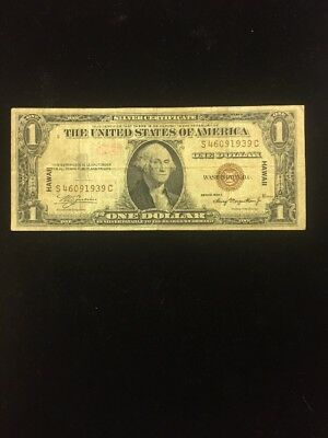 Hawaii $1.00 1935-A Silver Certificate , Really Used During The Second World War