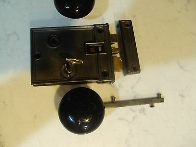 Large Antique Rim Lock  Not Mortise With Knobs Night Latch 3X5
