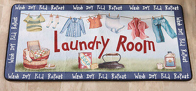 "Laundry Room Clothesline 40"" Long Cushioned Runner Mat Decor Rug Washer Cushion"