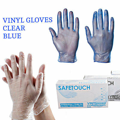 100 Disposable Powder Free Clear Blue Vinyl Gloves Food Medical Surgical Gloves