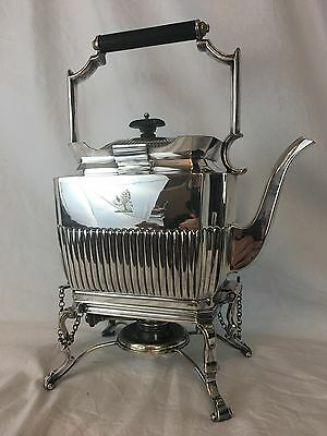 Edwardian English Sheffield Silverplate Tea Kettle On Stand, Circa 1910