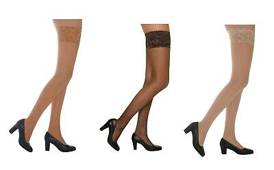 15 Denier Sheer Shine Luxury Lace Top Hold Ups Stockings Stay Up  Medium -XL-kp