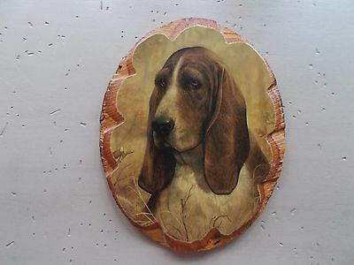 Vintage Basset Hound Decoupage Oval Wood Plaque Wall Picture