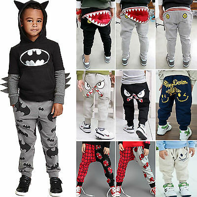Baby Kids Boys Girls Harem Pants Printed Trousers Bottoms Leggings Sweatpants