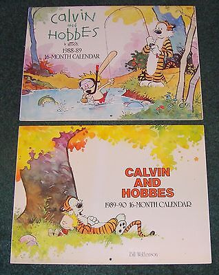 Calvin and Hobbes 1988-89 & 1989-90 16 Month Calendar Lot of 2! Rare Licensed