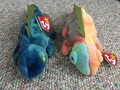 ty beanie babies, Iggy (lot of 2- Blue and Pink)