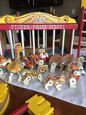 Vintage Fisher Price Wooden Circus Wagon With Animals and Accessories 1960