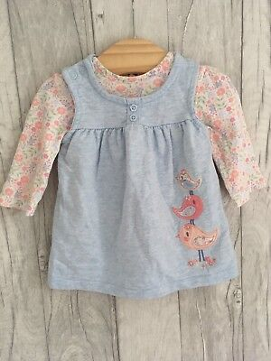 George 2pc Baby Bird Outfit 0-3 Months Top + Pinny Dress Set Floral Girls