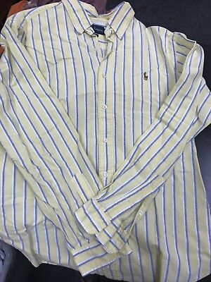 Polo Ralph Lauren Yellow/Blue/White Button-down Oxford Classic Fit Men's Large