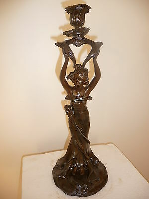 Art Nouveau lady figural spelter candle holder circa 1900