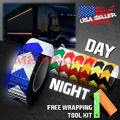 "*Checker Conspicuity Tape 2/""x120/' Reflective Safety Warning Sign Car Truck RV"