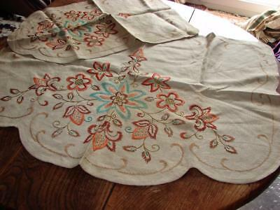 Vintage Chair and Sofa Back~Hand Embroidery Jacobean Pattern~Natural Linen