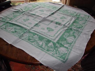 Vintage White Tablecloth~Printed Green Pattern~Crinoline Ladies~35in x 34ins
