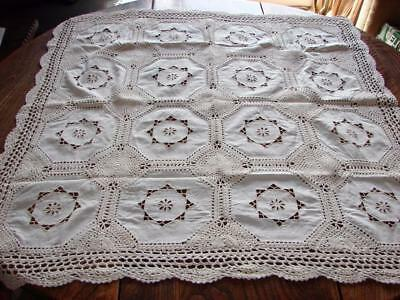 Vintage Cotton Tablecloth~Pretty Cutwork Embroidery~Hand Crochet~32 x 32ins