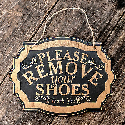 Please Remove Your Shoes - Black Door Sign 7x9.5in
