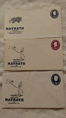 Mayrath Company Dealer's envelope lot of 2 Monmouth Compton Illinois IL