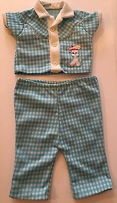 VTG Tagged Mayfair Philippines Infant Toddler 2 Piece Pants Outfit Dog Applique